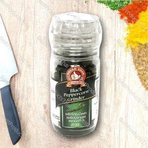พริกไทยดำพร้อมฝาบด 100% BLACK PEPPERCORN GRINDER ขนาด 35 กรัม บรรจุขวดแก้วพร้อมฝาบด- BestProductsThai.com
