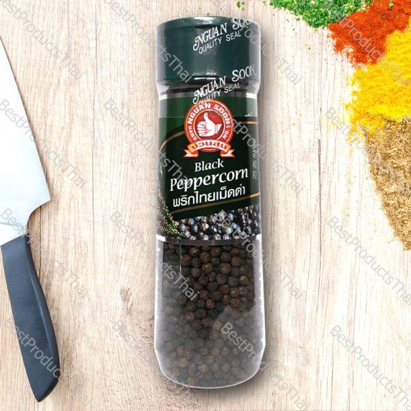 พริกไทยดำเม็ด 100% BLACK PEPPERCORN ขนาด 100 กรัม บรรจุขวดพลาสติก- BestProductsThai.com