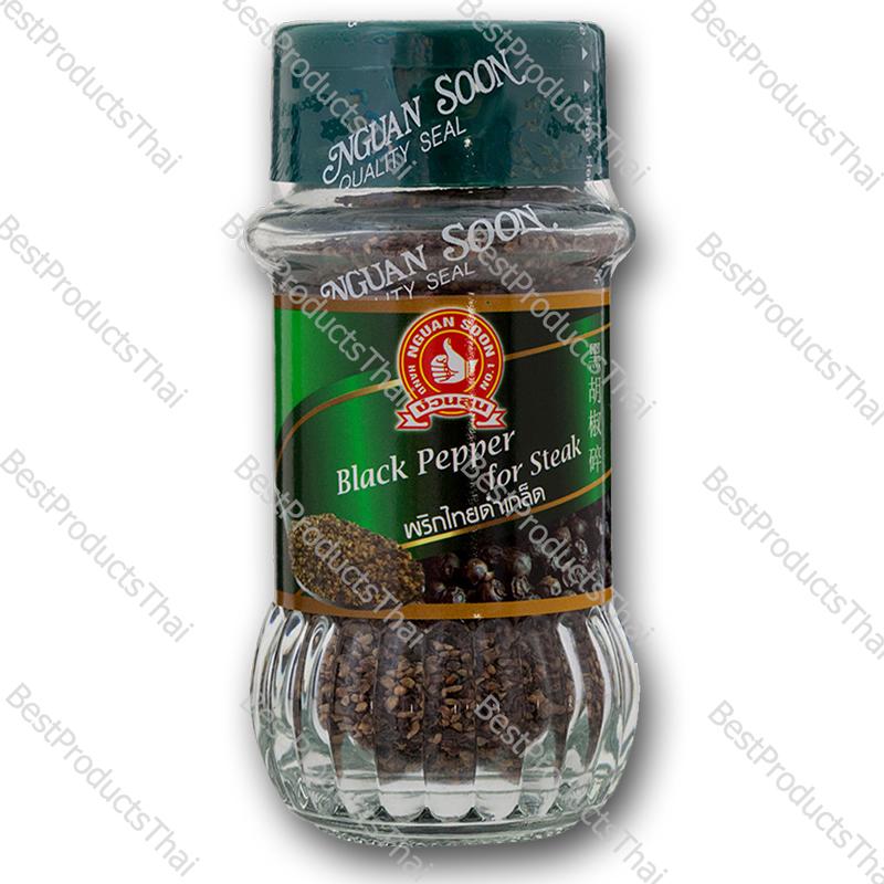 พริกไทยดำเกล็ด 100% BLACK PEPPER FOR STEAK ขนาด 50 กรัม บรรจุขวดแก้ว- BestProductsThai.com