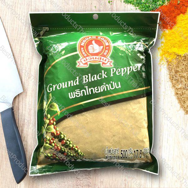 พริกไทยดำป่น 100% GROUND BLACK PEPPER ขนาด 500 กรัม บรรจุซอง- BestProductsThai.com