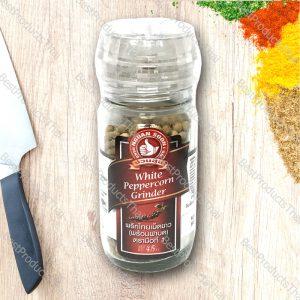 พริกไทยขาวพร้อมฝาบด 100% WHITE PEPPERCORN GRINDER ขนาด 45 กรัม บรรจุขวดแก้วพร้อมฝาบด- BestProductsThai.com