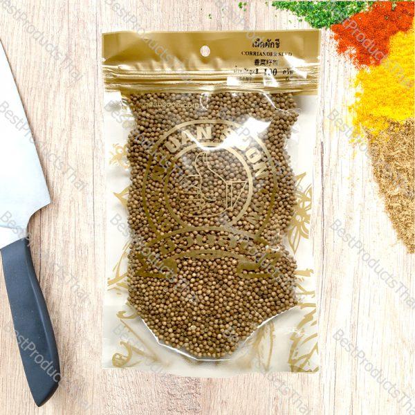 เม็ดผักชี หรือลูกผักชี 100% CORIANDER SEED ขนาด 100 กรัม บรรจุซอง- BestProductsThai.com