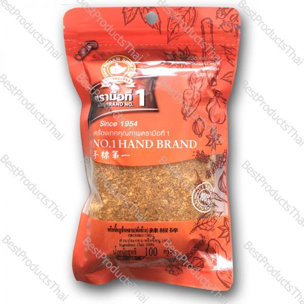 พริกขี้หนูป่นหยาบ (เด็ดก้าน) 100% CRUSHED CHILI ขนาด 100 กรัม บรรจุซอง- BestProductsThai.com